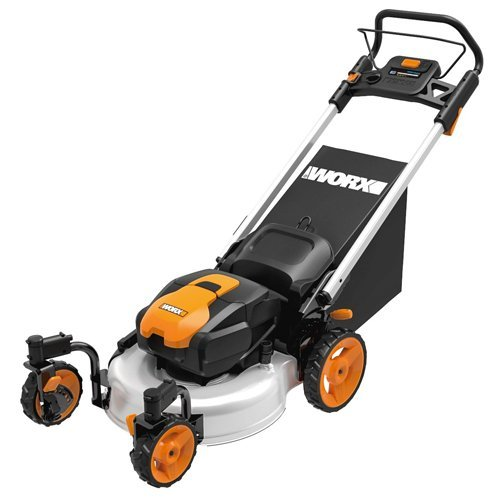 WORX WG771 56V Lithium-Ion 3-in-1 Cordless Mower with Locking Caster Wheels